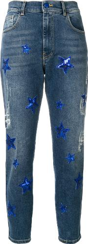 Sequin Star Patch Skinny Jeans