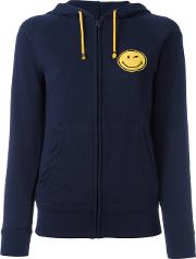 Smile Patch Zipped Hoodie Women Cottonpolyester S, Women's, Blue