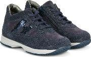 Glitter Effect Sneakers With Sequin Applique Kids Cottonleatherrubber