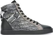 Striped Hi Top Sneakers Women Leatherpatent Leathersuederubber 36