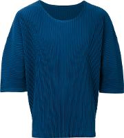 Homme Plisse Issey Miyake Pleated Detail T Shirt Men Polyester 3, Blue