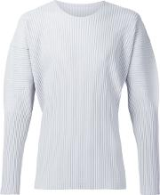 Long Sleeve Pleated T Shirt Men Polyester 4, Grey