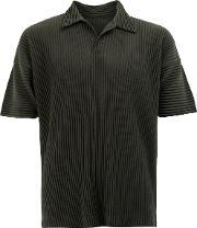 Pleated Polo Shirt Men Polyester 2