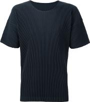 Pleated T Shirt Men Polyester 2, Green