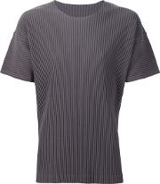 Pleated T Shirt Men Polyester 2, Grey