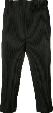 Ribbed Cropped Trousers Unisex Polyester S, Black