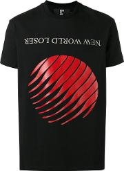 Printed T Shirt Men Cotton L, Black