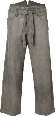 Tie Waist Cropped Trousers Unisex Cottonlinenflax 2, Grey