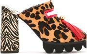 Animal Print Tassel Mules Women Leathervinylcalf Hairrubber 38
