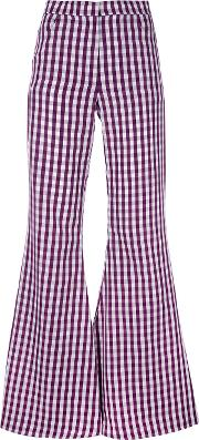 Flared Gingham Trousers Women Polyestercotton 12, Pinkpurple