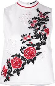 Rose Embroidery Tank Women Silkpolyesterviscose 6, White