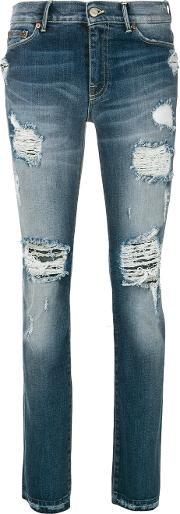 Htc Hollywood Trading Company Distressed Jeans Women Cottonspandexelastane 28, Blue