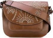 Palm Tree Studded Satchel Women Leather One Size, Brown