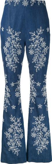 Embroidered Flared Jeans Women Cotton 10, Women's, Blue