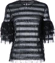 Sequined Striped Blouse Women Polyester 12, Black
