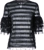 Sequined Striped Blouse Women Polyester 12, Women's, Black