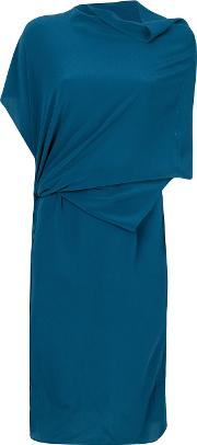 Draped Dress Women Silk L, Blue