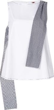 Gingham Panel Sleeveless Blouse