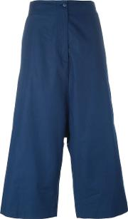 I'm Isola Marras Cropped Drop Crotch Trousers Women Cotton 40, Blue