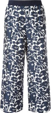 I'm Isola Marras Cropped Floral Print Trousers Women Acetatepolyesterspandexelastaneviscose 40, Blue