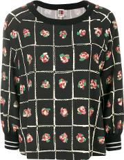 I'm Isola Marras Floral Printed Blouse Women Polyesterspandexelastanevirgin Wool 46, Black