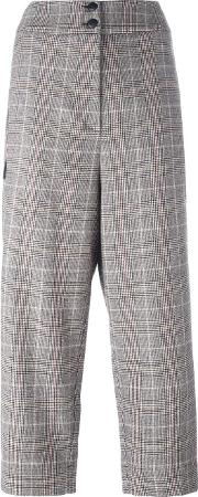 I'm Isola Marras Plaid Cropped Trousers Women Acrylicpolyesterspandexelastaneother Fibers 44, Women's, Black