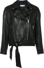 Belted Biker Jacket Women Lamb Skinnylonacetate 36, Black