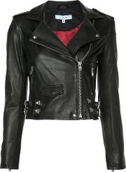 Cropped Biker Jacket Women Lamb Skinpolyester 38, Black