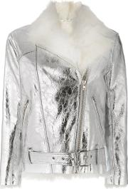 Iro Metallic Biker Jacket Women Sheep Skinshearling 38, Grey