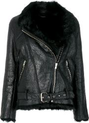 Iro Oversized Biker Jacket Women Lamb Skinlamb Fur 38, Black