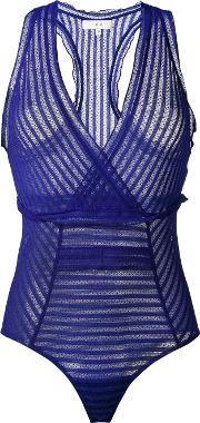 Striped Body Women Cottonpolyamidespandexelastane 38, Blue
