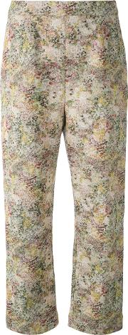 Abstract Print Cropped Trousers Women Cottonspandexelastanelinenflax 6, Nudeneutrals