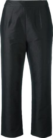 Cropped Tailored Trousers Women Cottonpolyamidepolyester 12, Black