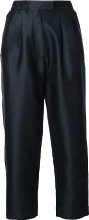 Cropped Tapered Trousers Women Silkcotton 8, Black