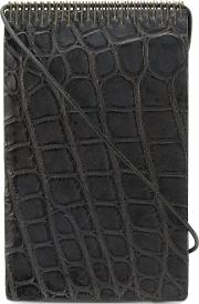 Strap Detail Wallet Unisex Crocodile Leather One Size, Black