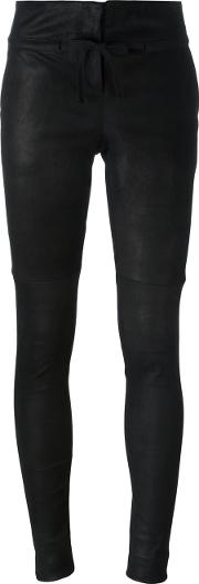 Classic Skinny Trousers Women Cottonleather 40, Black