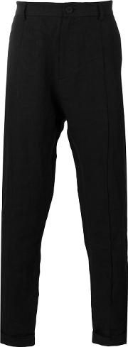 Slim Fit Tapered Trousers Men Linenflax 46, Black