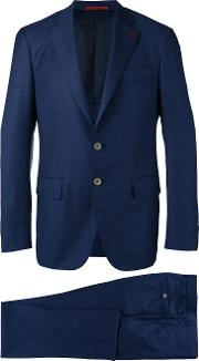 Checked Dinner Suit Men Cuprowool 48, Blue