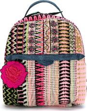 Embroidered Tweed Backpack