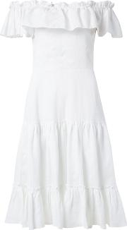 Off The Shoulder Flared Dress Women Linenflax 38, White