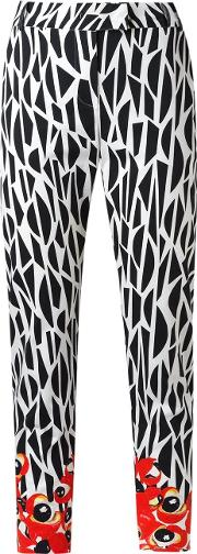 Printed Straight Trousers Women Cotton 34, Black