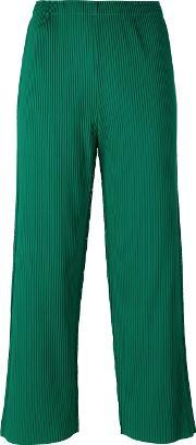 Ribbed Detail Cropped Pants Women Polyester One Size