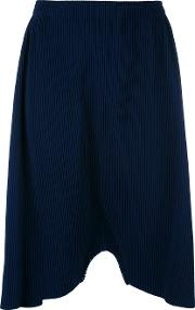 Ribbed Drop Crotch Trousers Women Polyester One Size, Blue