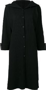 Ribbed Single Breasted Coat Women Polyester One Size, Women's, Black