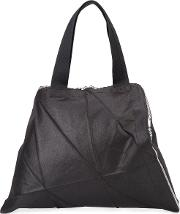Glossy Origami Structured Tote Women Polyester One Size, Black