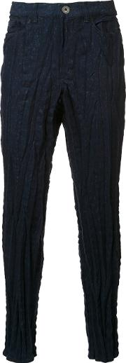 Stretch Textured Skinny Trousers Men Cottonpolyester 4, Blue