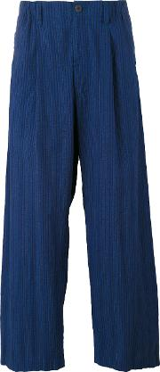 Wide Legged Ribbed Trousers Men Cotton M, Blue