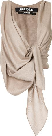 Twisted Drape Front Blouse