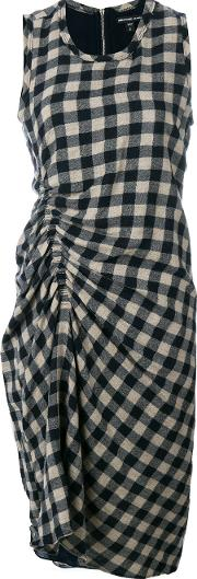 Gathered Checked Dress
