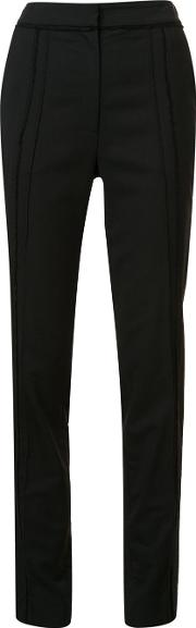 Frayed Panelled Tailored Trousers Women Viscose 4, Black